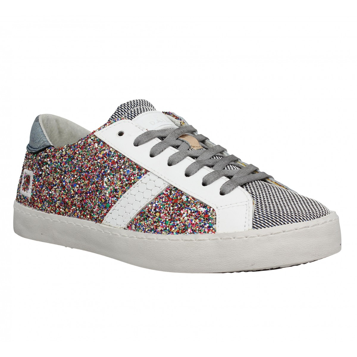 Baskets D.A.T.E Hill Low cuir Femme Glitter