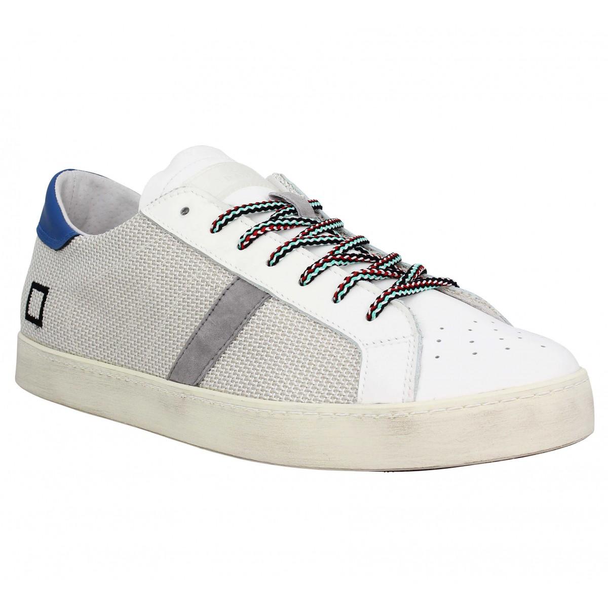 Baskets D.A.T.E Hill Low toile Homme Blanc Bleu