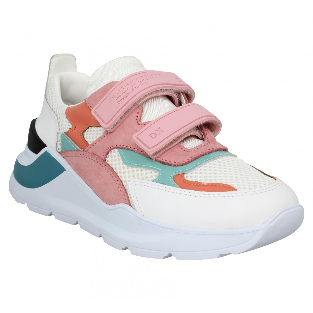 Baskets DATE SNEAKERS Fuga Strap cuir toile Femme Blanc Rose