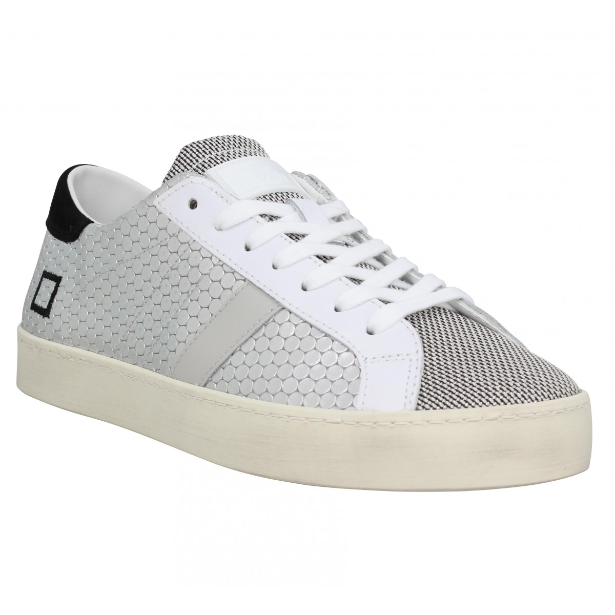 Baskets DATE SNEAKERS Hill Low pong Femme Argent Noir
