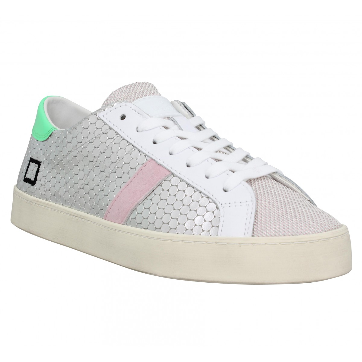 Baskets DATE SNEAKERS Hill Low pong Femme Argent Vert