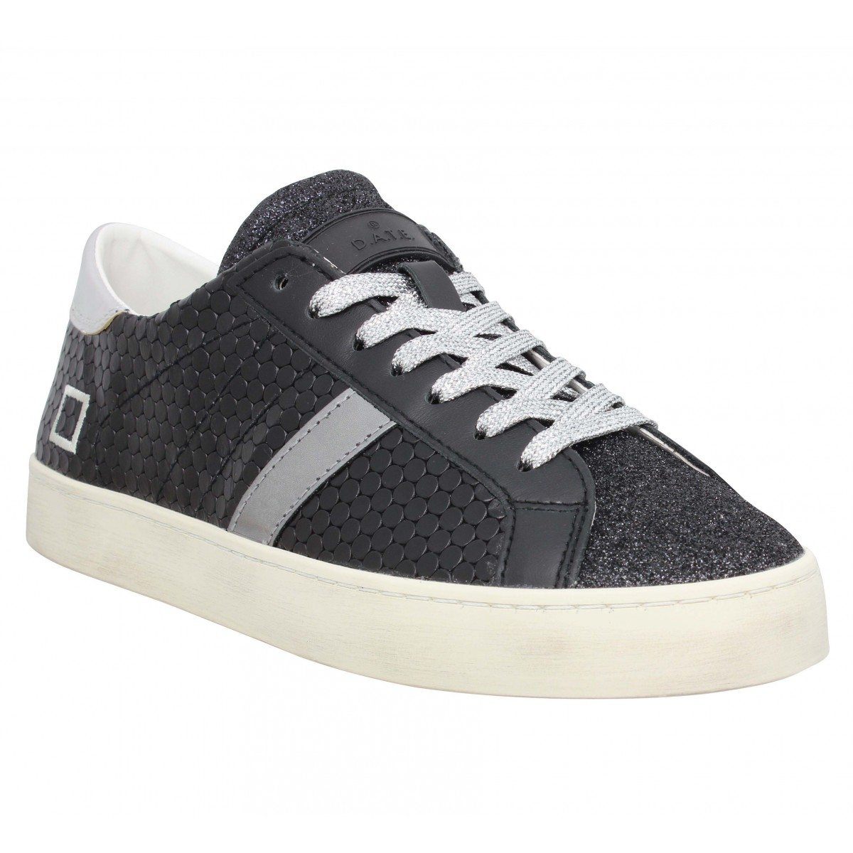 Baskets DATE SNEAKERS Hill Low pong Femme Noir Argent