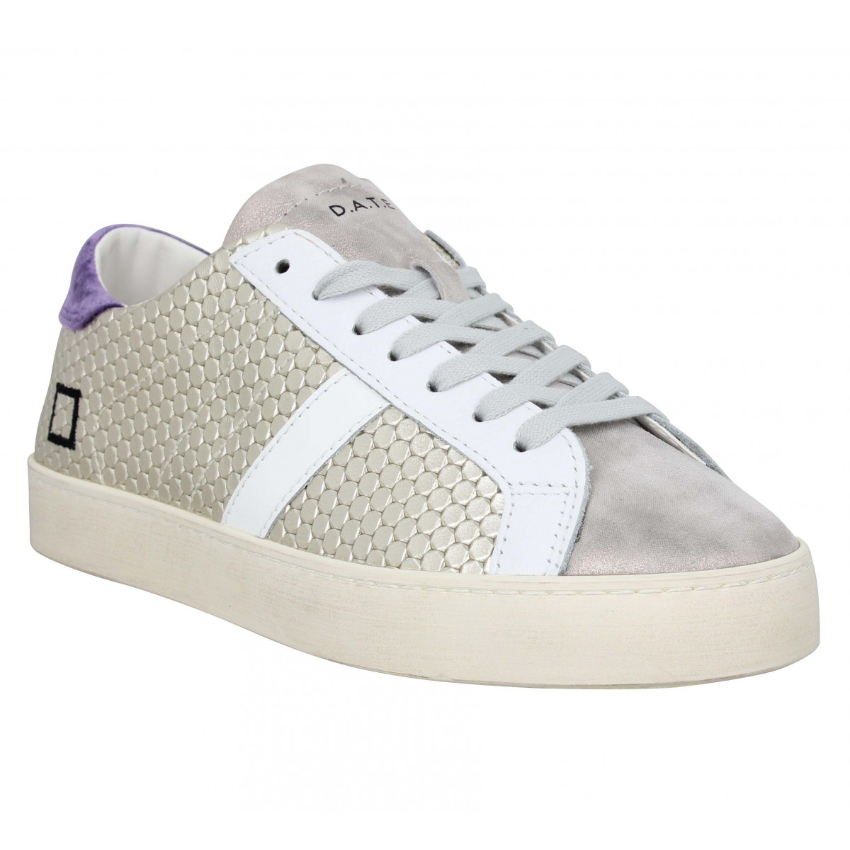 Baskets DATE SNEAKERS Hill Low pong Femme Platine