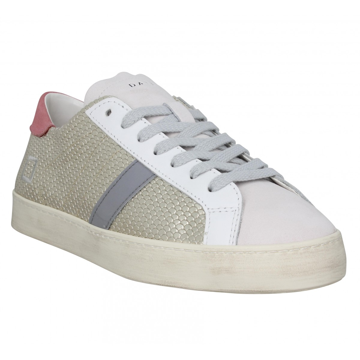 Baskets DATE SNEAKERS Hill Low roof Femme Platinium