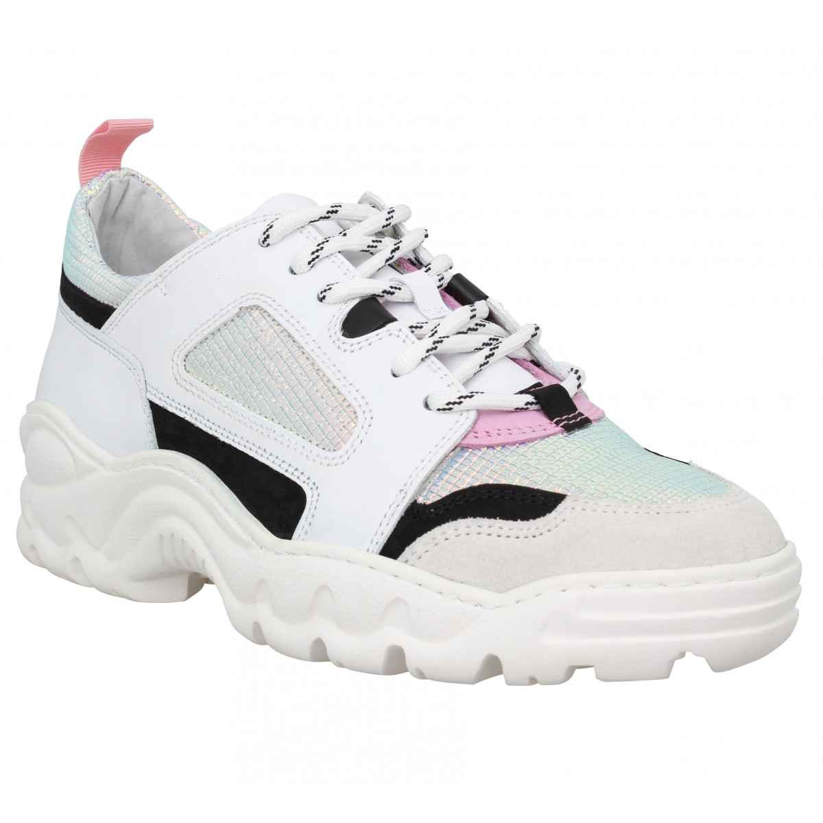 Baskets DATE SNEAKERS Prozac Colored cuir Femme Blanc Argent
