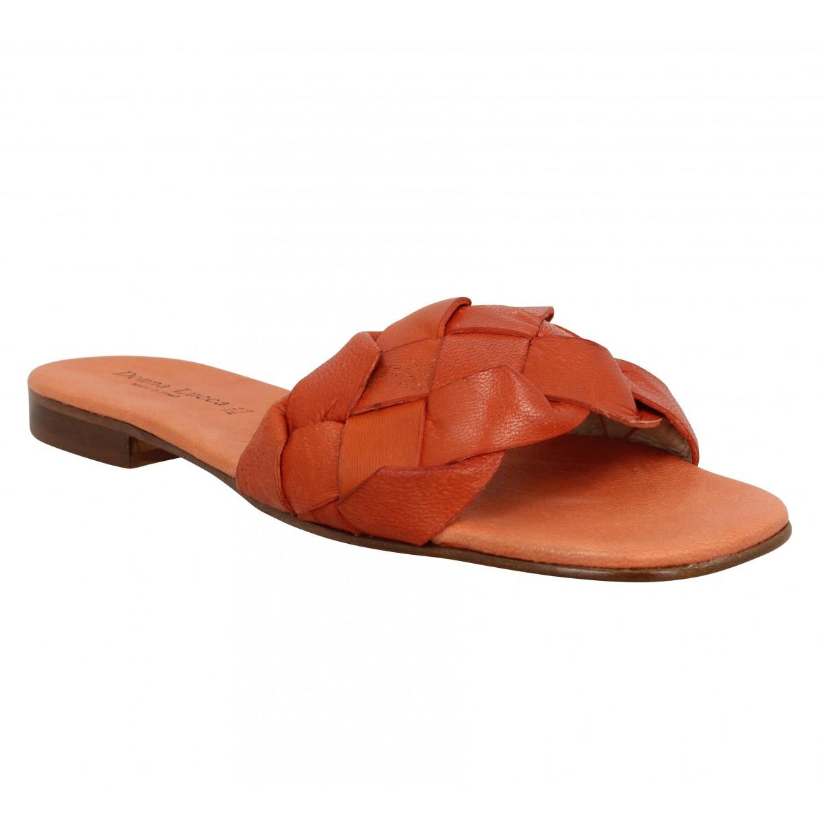 Mules DONNA LUCCA 1282 cuir Femme Orange