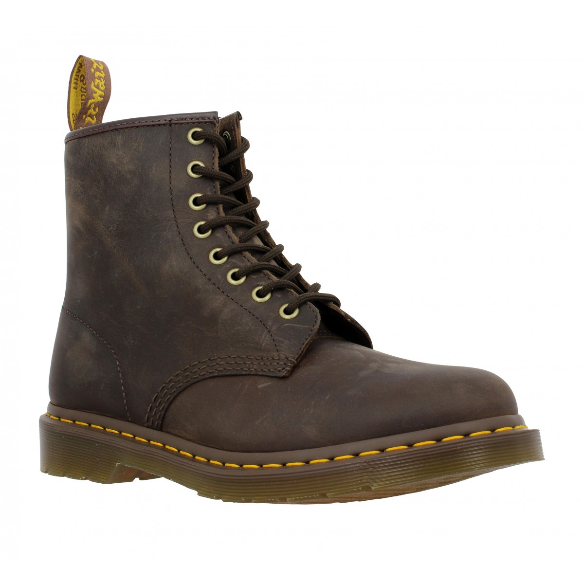dr martens 1460 cuir gras femme brun fonce fanny chaussures. Black Bedroom Furniture Sets. Home Design Ideas