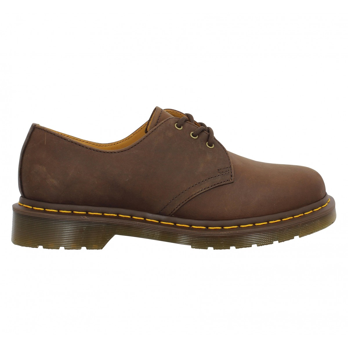 dr martens 1461 cuir gras homme marron homme fanny chaussures. Black Bedroom Furniture Sets. Home Design Ideas