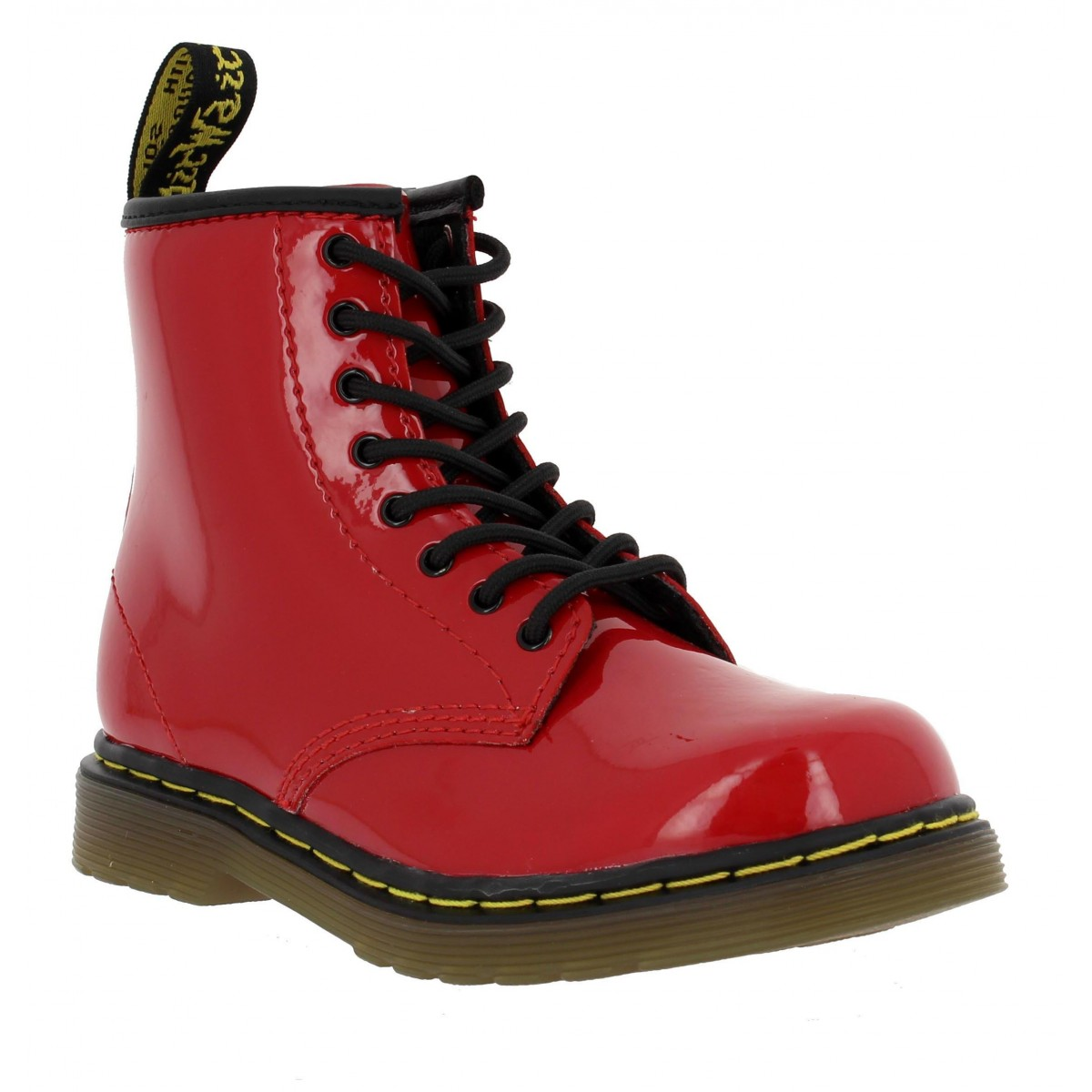 Bottines Dr MARTENS Brooklee vernis Enfant Rouge