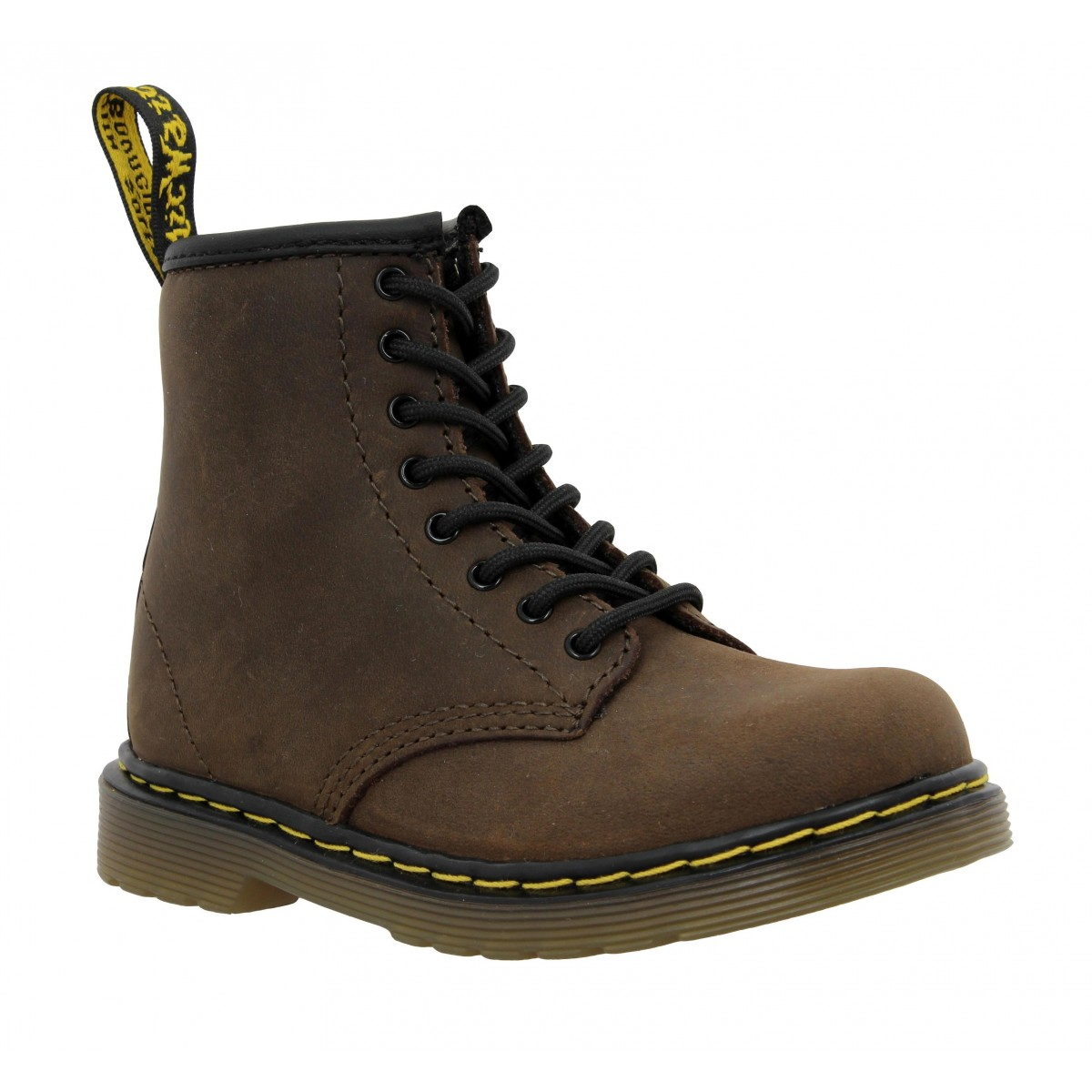 Bottines Dr MARTENS Delaney cuir gras Enfant Marron