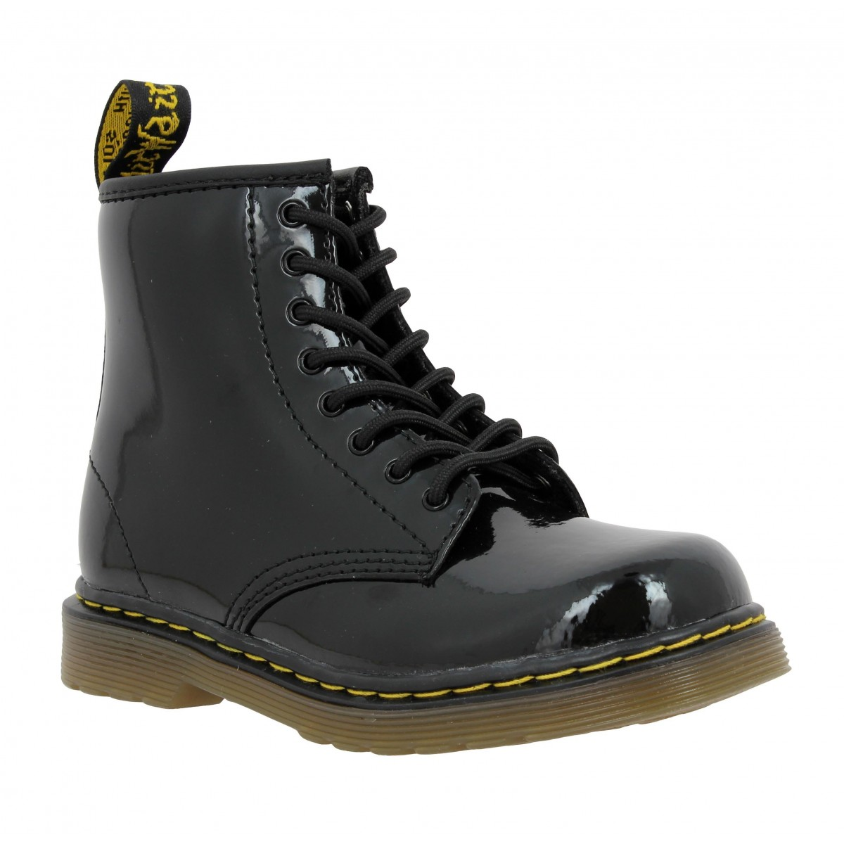 Bottines Dr MARTENS Delaney vernis Enfant Noir