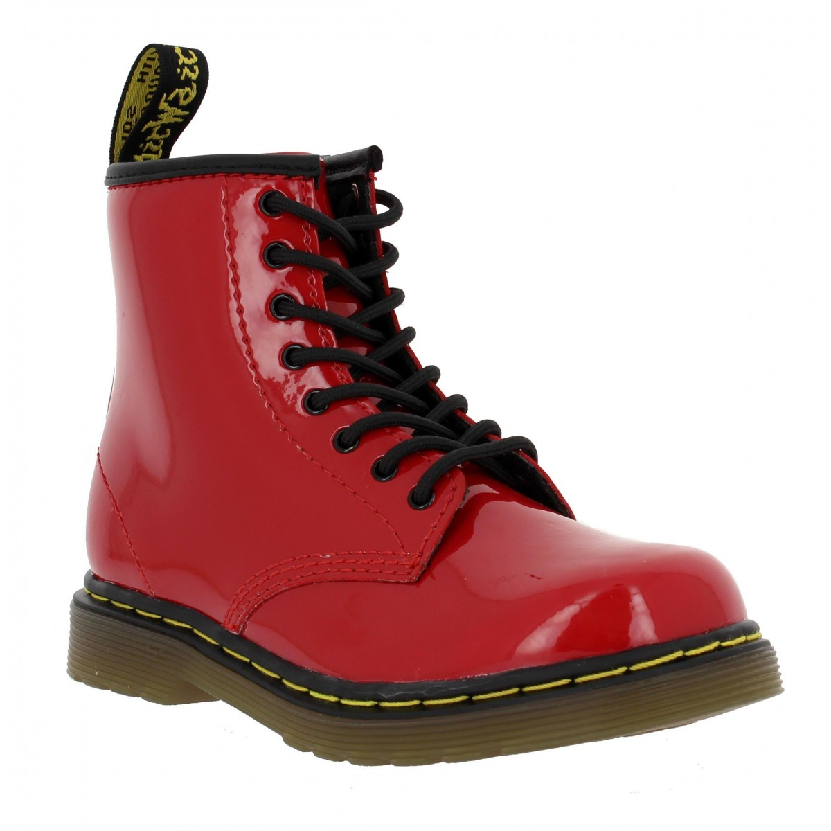 Bottines Dr MARTENS Delaney vernis Enfant Rouge