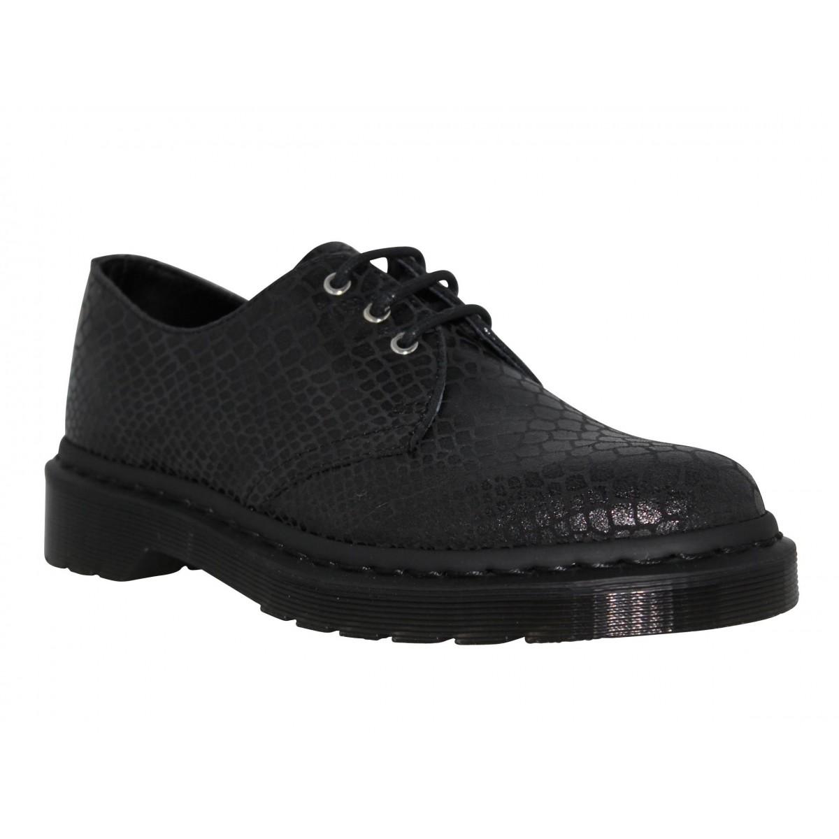 Chaussures à lacets Dr MARTENS Tahan shine reptile Femme Noir
