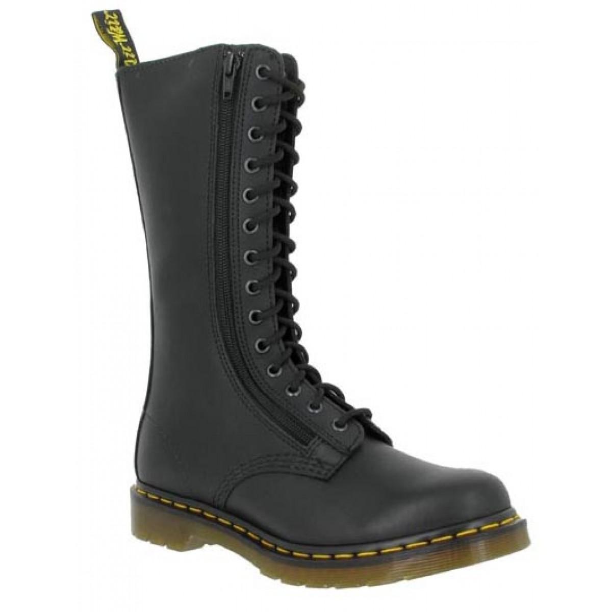 Bottines Dr MARTENS Zip Boot 14 Box Femme Noir