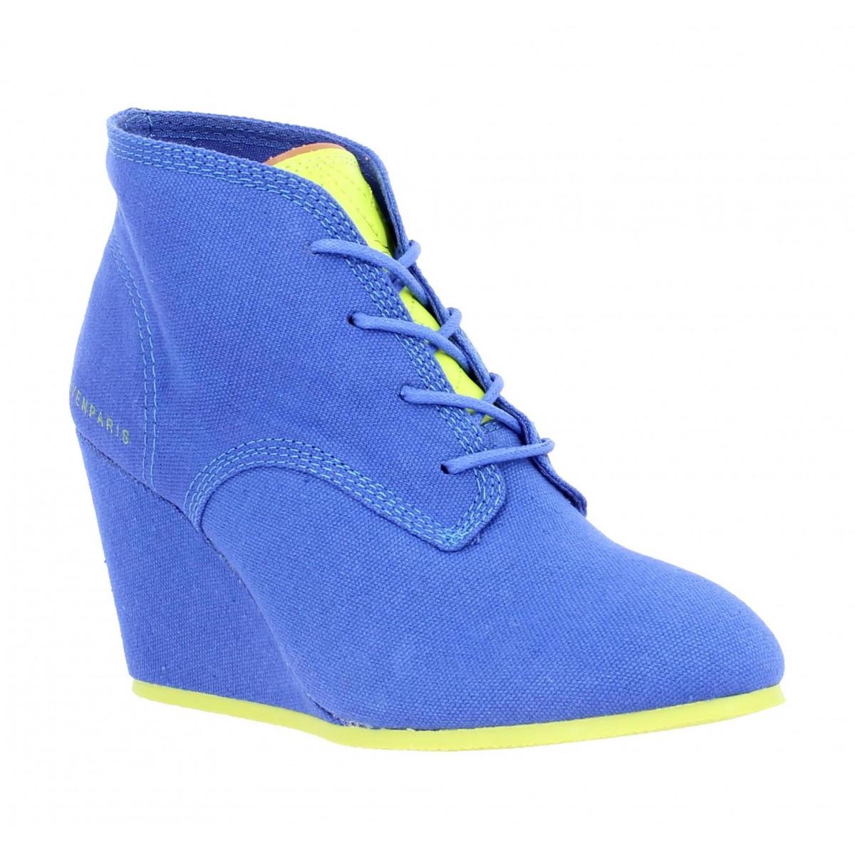 Compensées ELEVEN PARIS Lanacan Fluo toile Femme Bleu + jaune