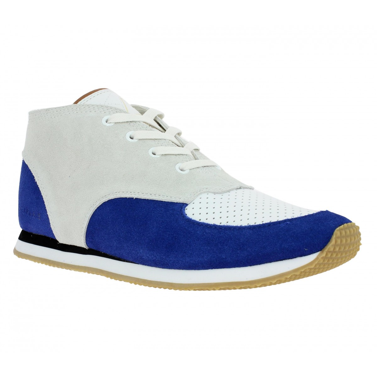 Bottines ELEVEN PARIS Runsuede velours Femme Off White + Bleu