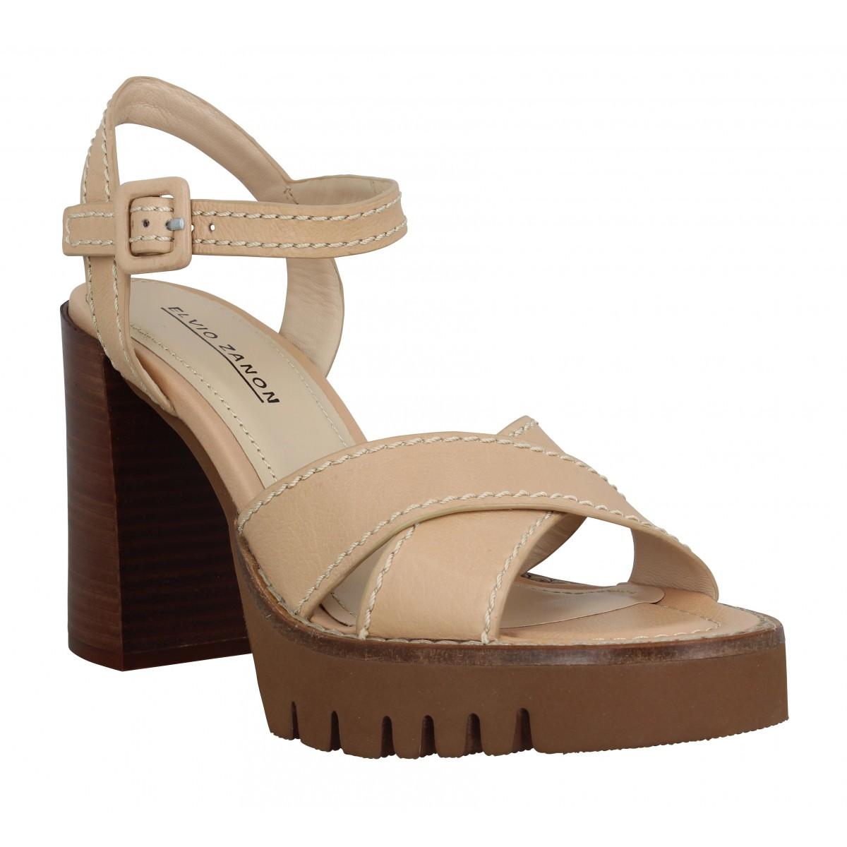Sandales talons ELVIO ZANON 903 cuir Femme Nude