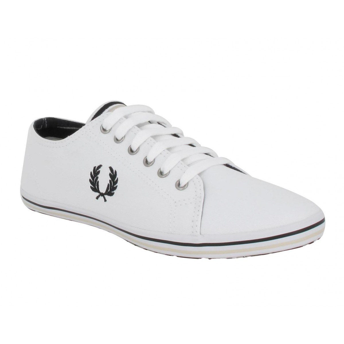 Baskets FRED PERRY Kingston toile Homme Blanc + Noir