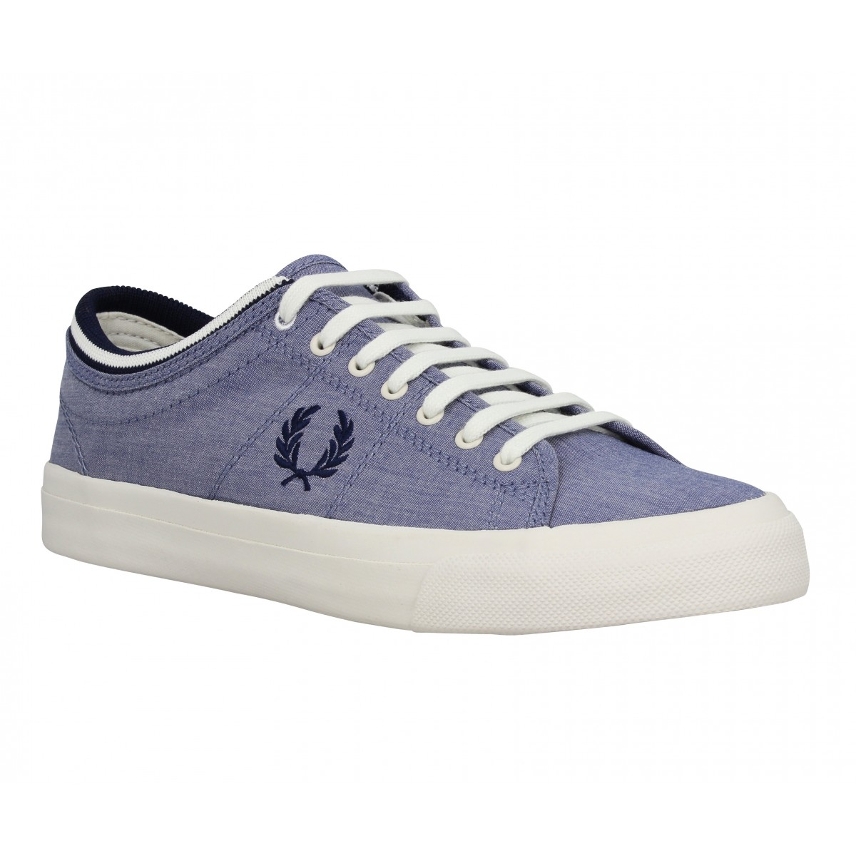 Baskets FRED PERRY Kendrick chambray Homme Bleu