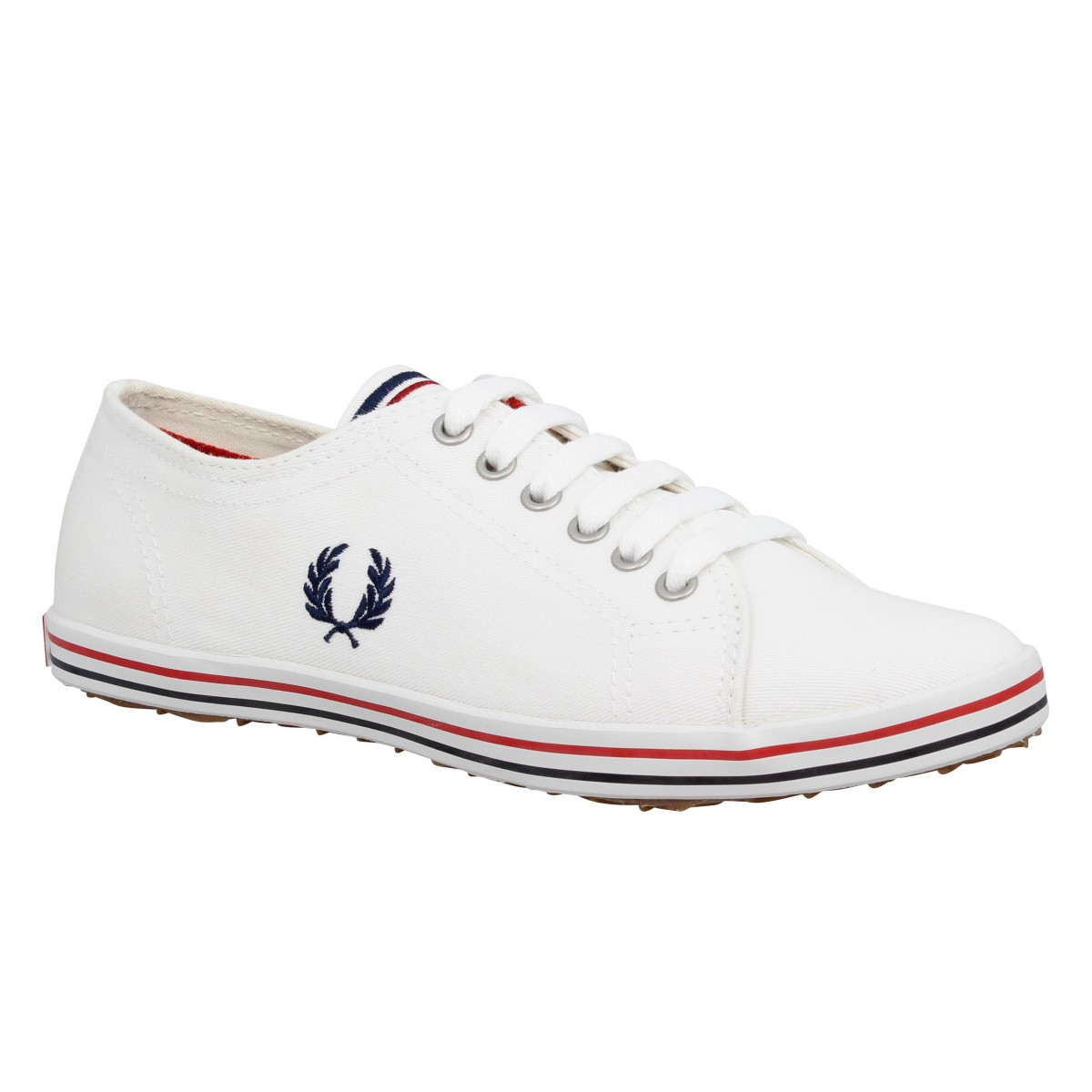 Baskets FRED PERRY Kingston toile Femme Blanc + Marine