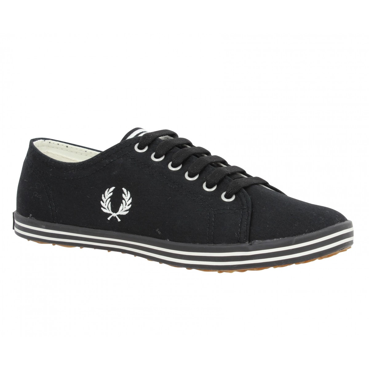 Baskets FRED PERRY Kingston toile Femme Noir + Blanc
