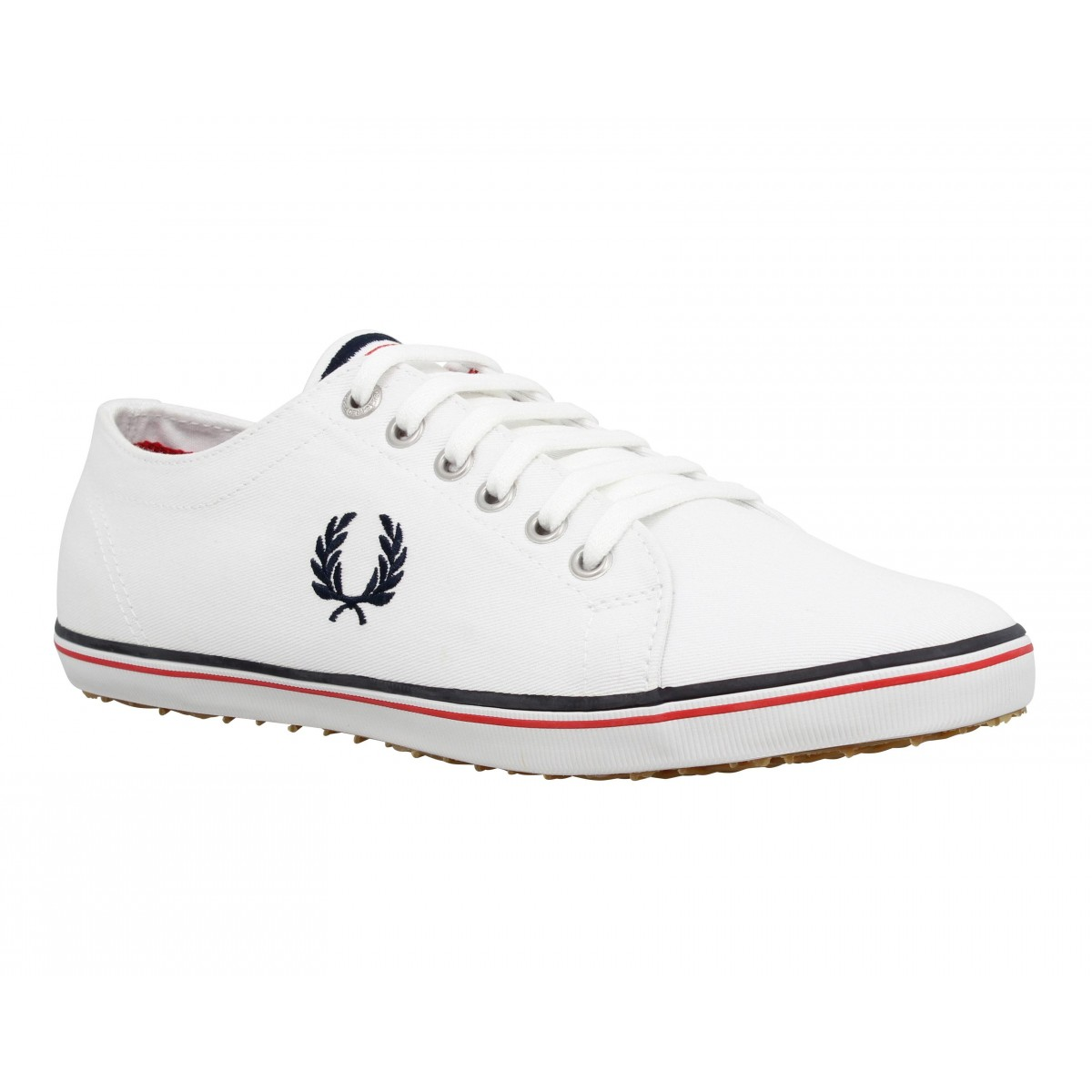 Baskets FRED PERRY Kingston toile Homme Blanc + Marine
