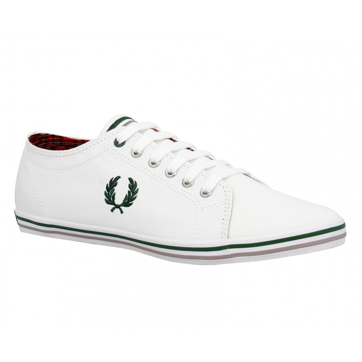 Baskets FRED PERRY Kingston toile Homme Blanc + Vert