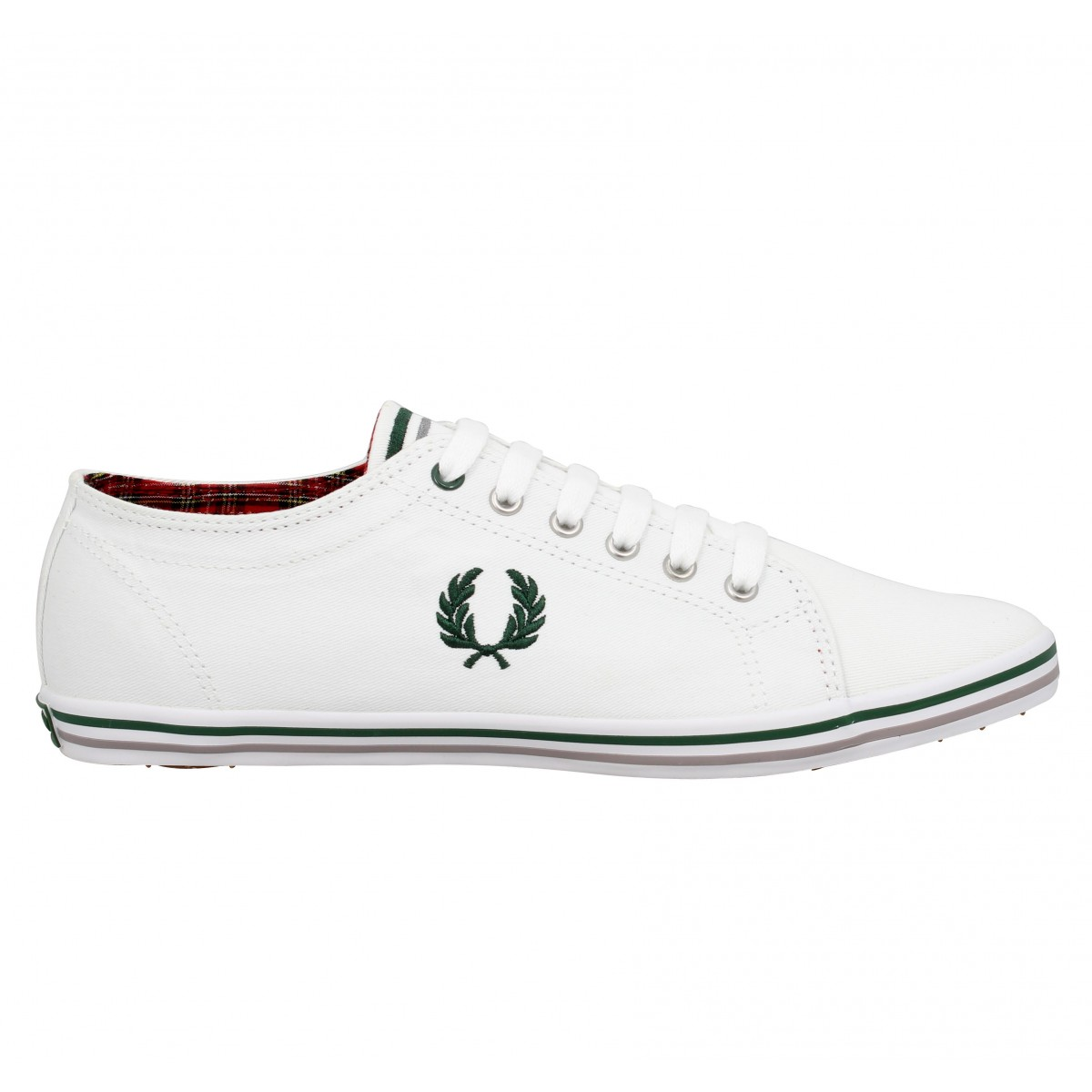 fred perry kingston toile homme blanc vert fanny chaussures. Black Bedroom Furniture Sets. Home Design Ideas