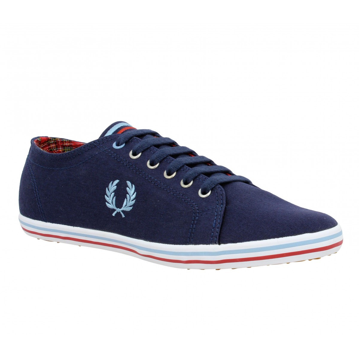 Baskets FRED PERRY Kingston toile Homme Marine + Bleu Ciel