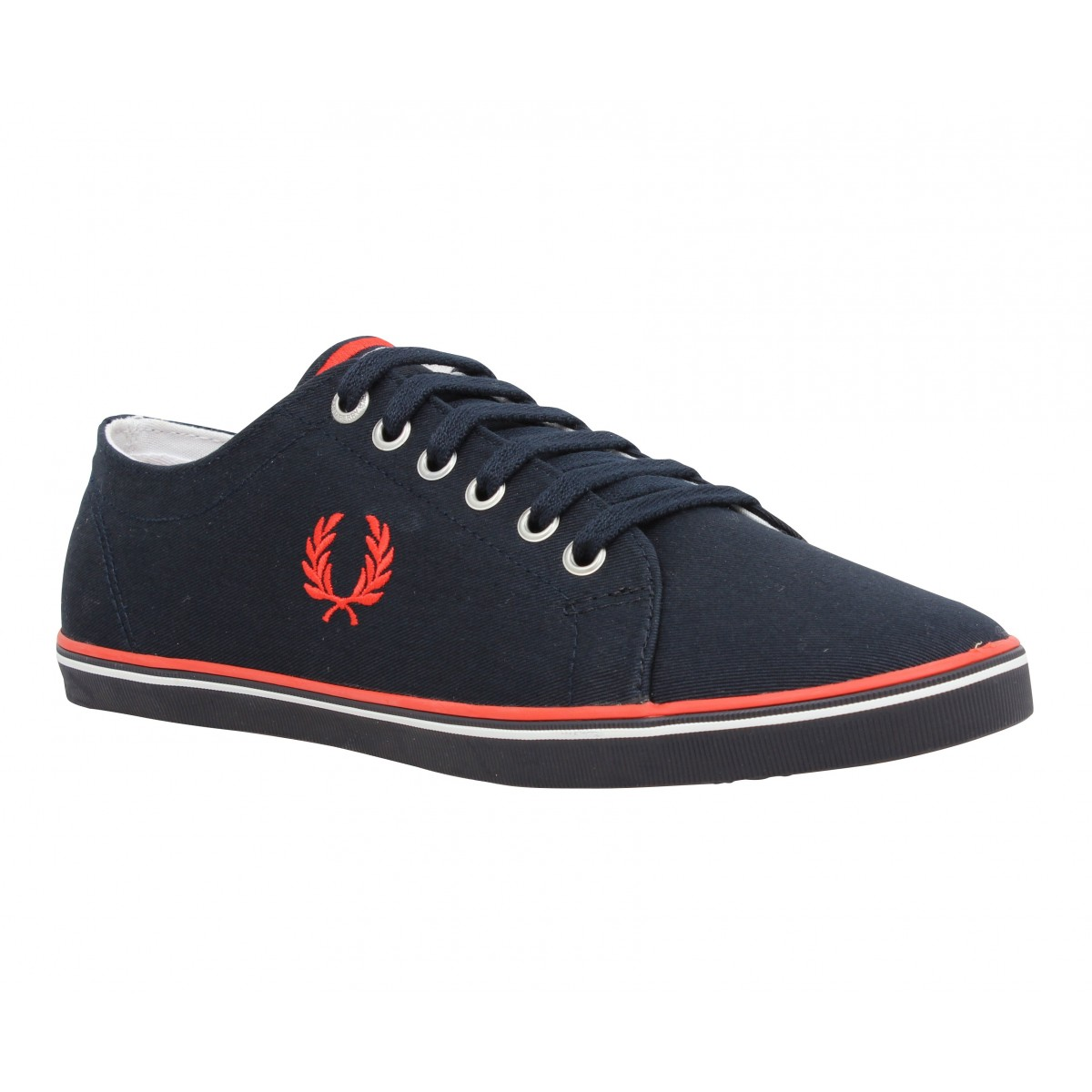 Baskets FRED PERRY Kingston toile Homme Marine + Rouge