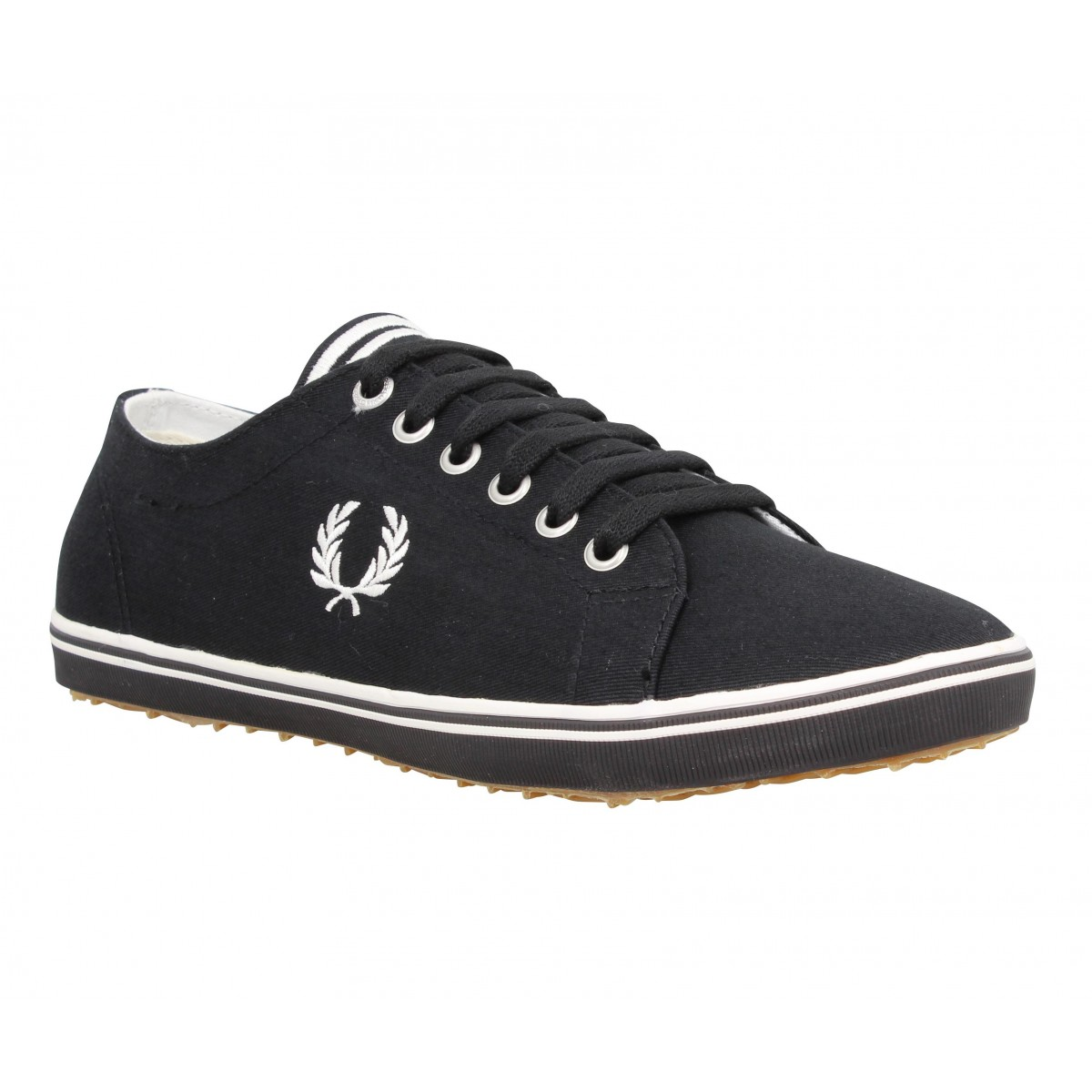 Baskets FRED PERRY Kingston toile Homme Noir + Blanc