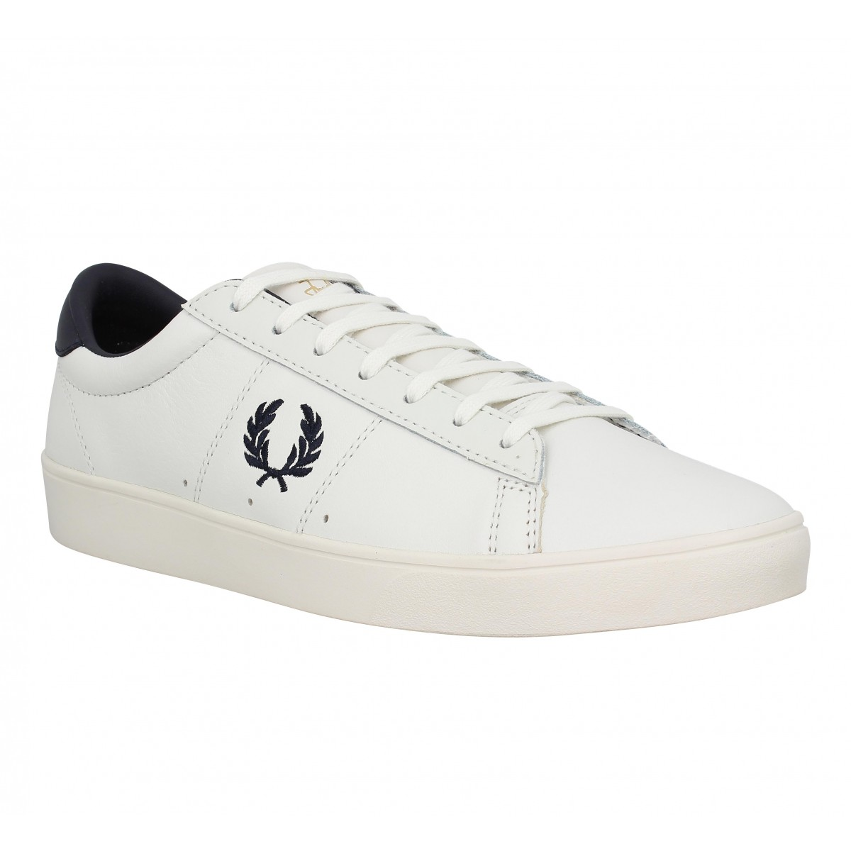 Baskets FRED PERRY Spencer cuir Homme Porcelaine + Marine