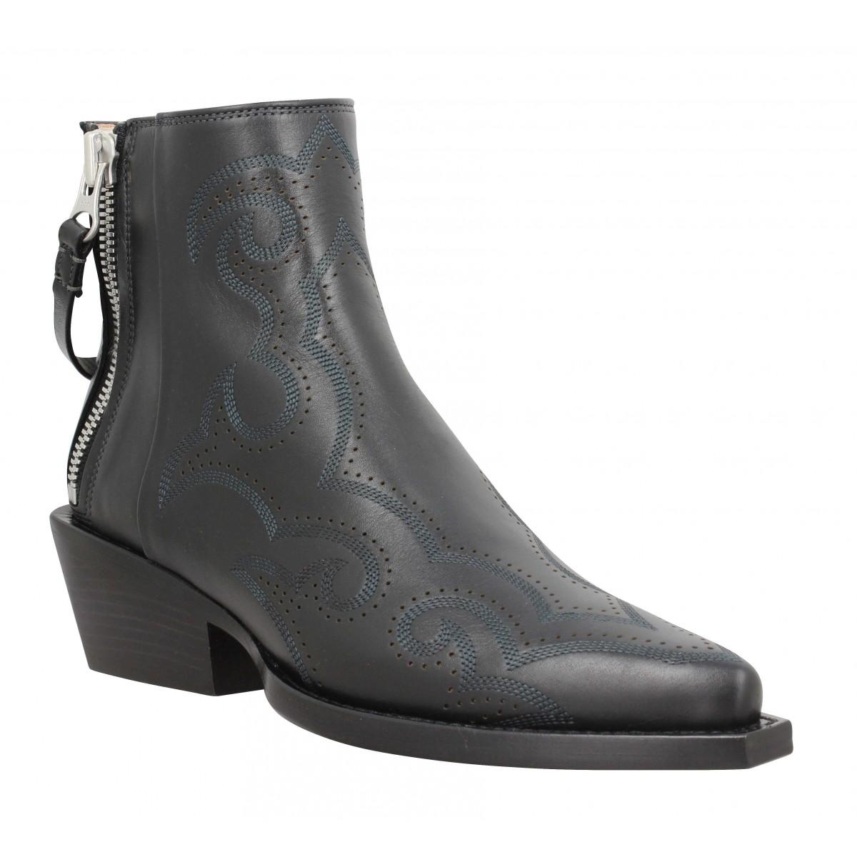 Bottines FREE LANCE Calamity 4 West Double Zip Boots cuir lisse Femme Noir