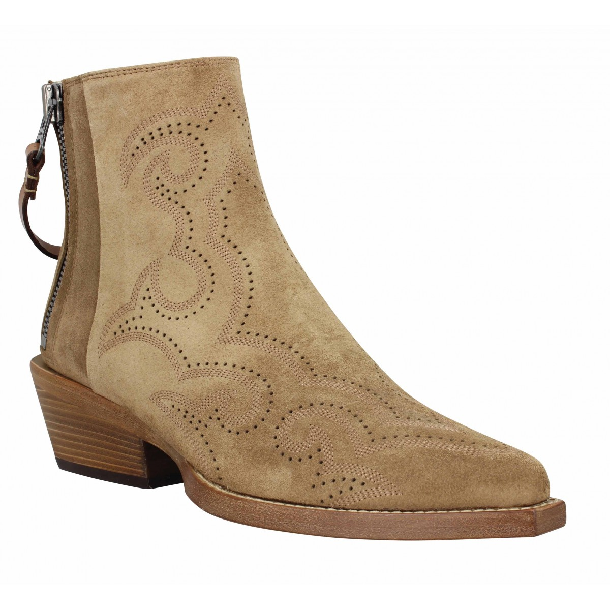 Bottines FREE LANCE Calamity 4 West Double Zip Boots velours Femme Cigare