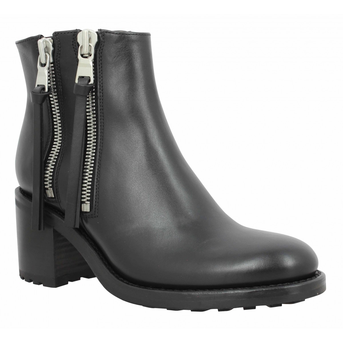 Bottines FREE LANCE Daytona 7 Two Zip Boot cuir Femme Noir