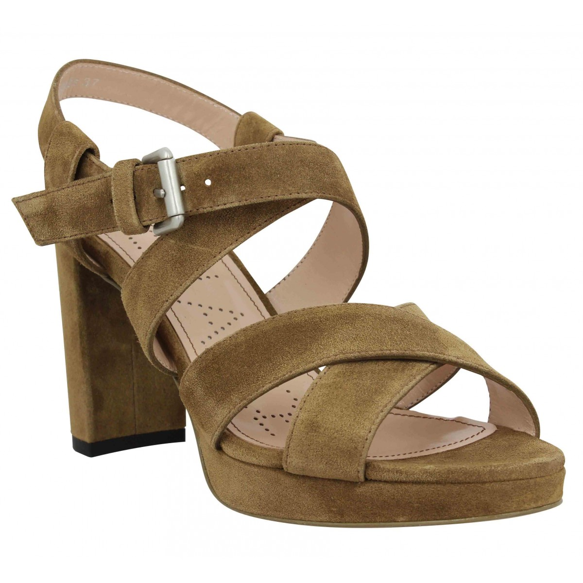Sandales talons FREE LANCE Elisa 4 Cross Sandal velours Femme Cigare