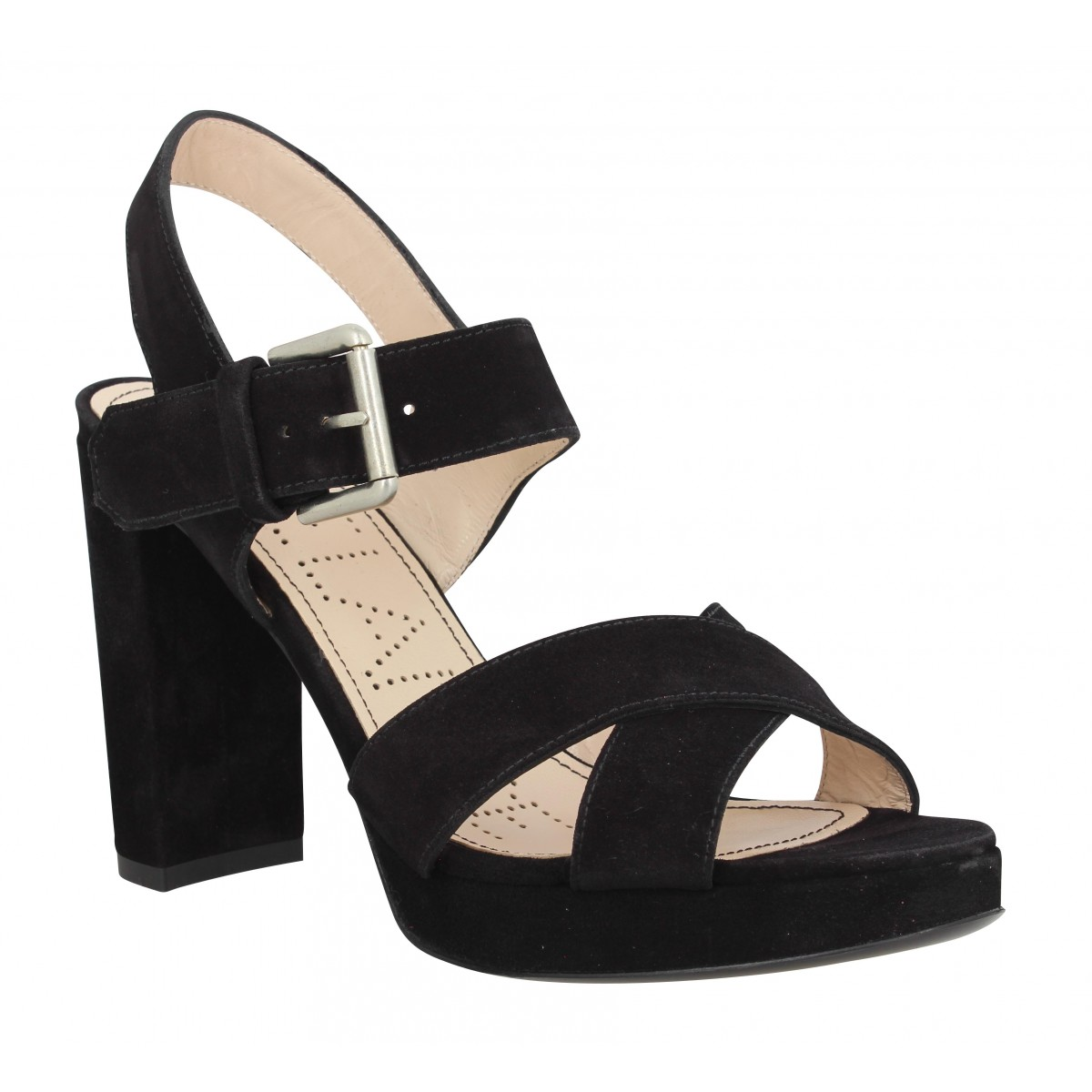 Sandales talons FREE LANCE Elisa 7 Cross Sandal velours Femme Noir