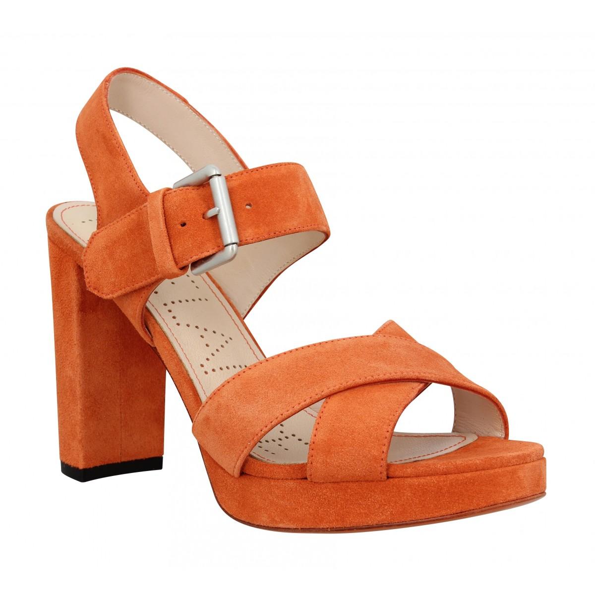 Sandales talons FREE LANCE Elisa 7 Cross Sandal velours Femme Tangerine