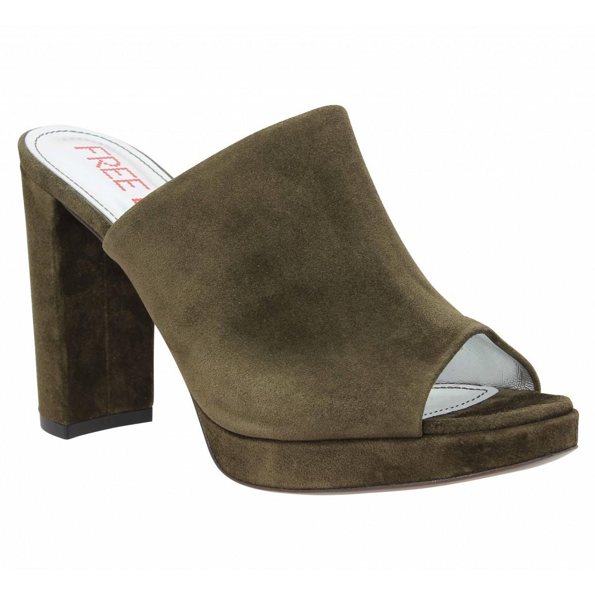 Sandales talons FREE LANCE Elisa 7 Mule velours Femme Olive