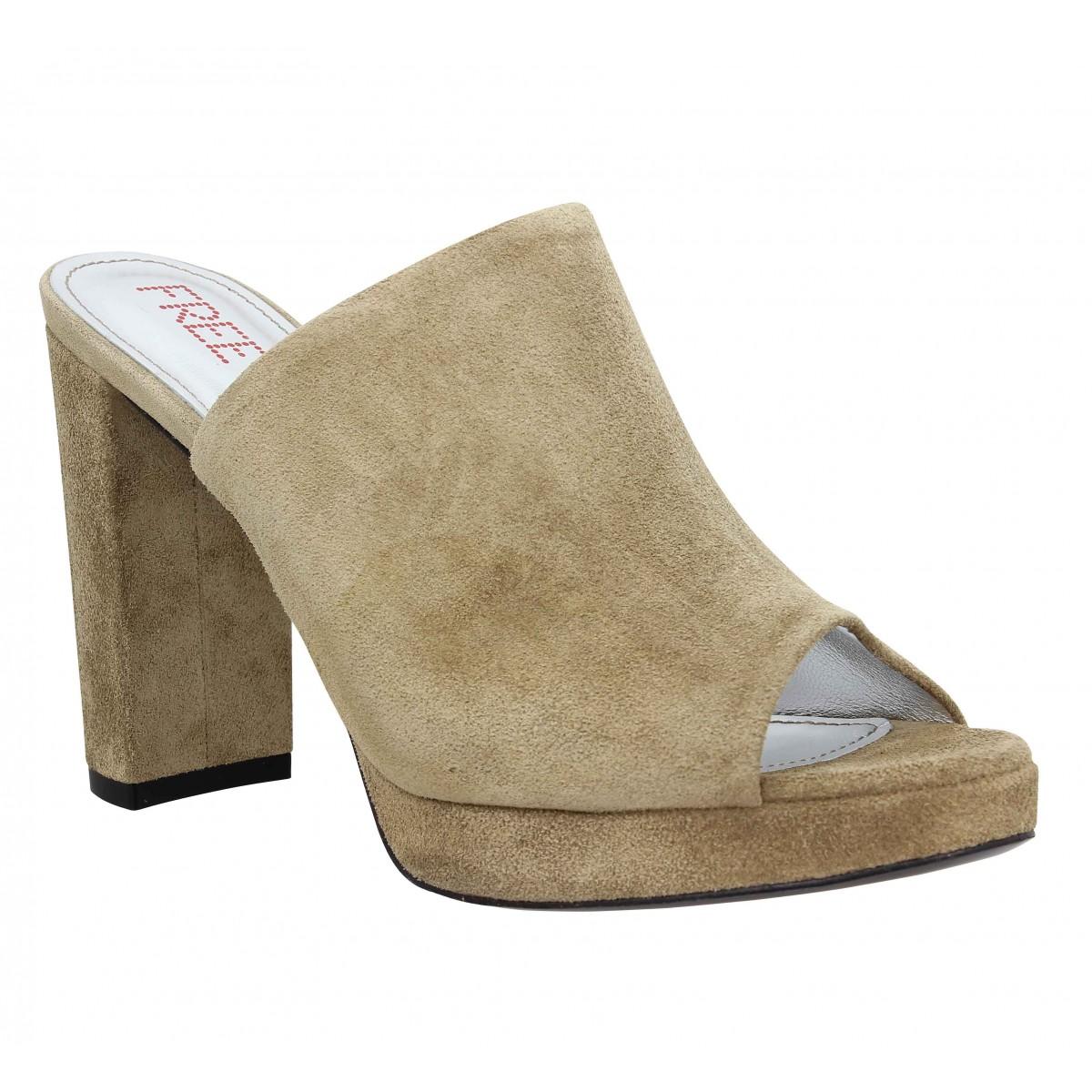 Sandales talons FREE LANCE Elisa 7 Mule velours Femme Taupe