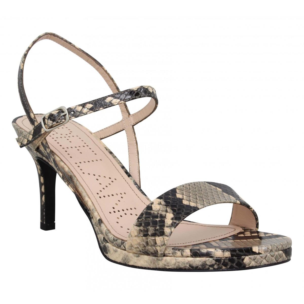 Sandales talons FREE LANCE Hydra 4 Buckle Sandal snake Femme Sable
