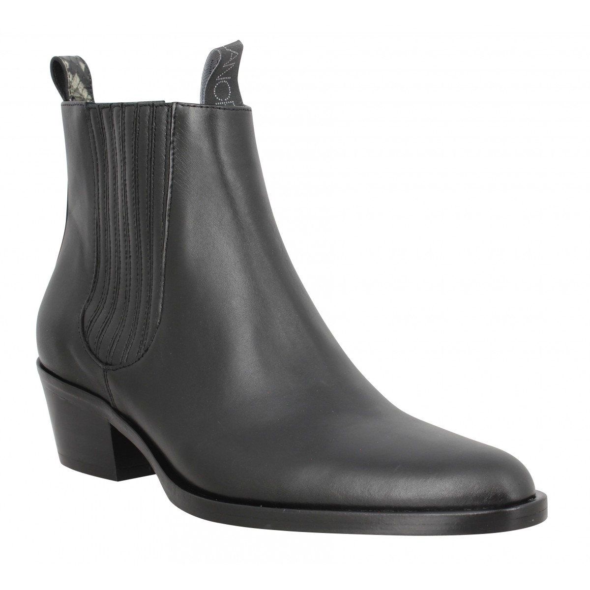 Bottines FREE LANCE Jane 5 Deco Chelsea Boot cuir lisse Femme Noir