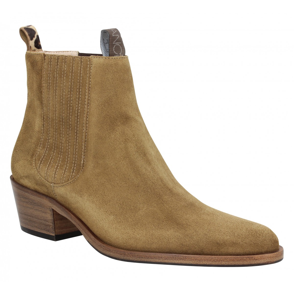 Bottines FREE LANCE Jane 5 Deco Chelsea Boot velours Femme Cigare