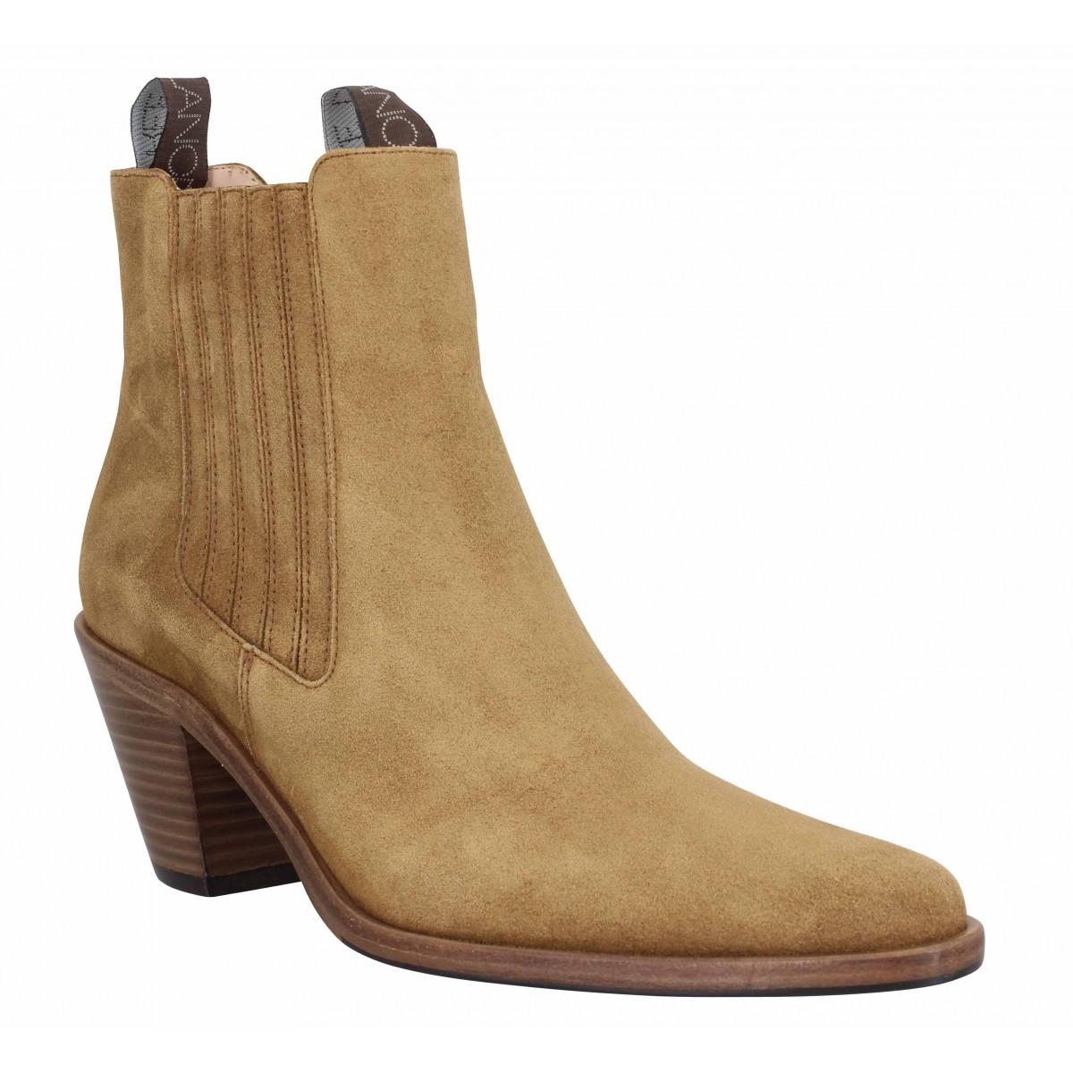 Bottines FREE LANCE Jane 7 Chelsea Boot velours Femme Cigare