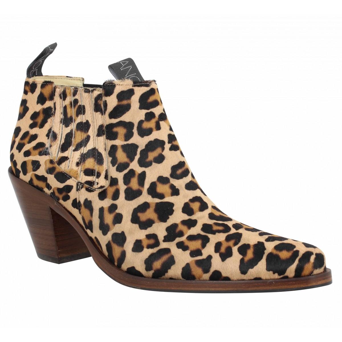 Bottines FREE LANCE Jane 7 Low Chelsea Boot cuir Femme Leopard
