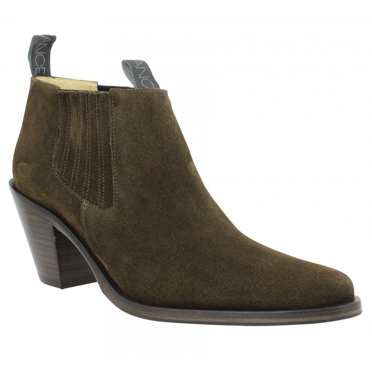 Bottines FREE LANCE Jane 7 Low Chelsea Boot velours Femme Olive