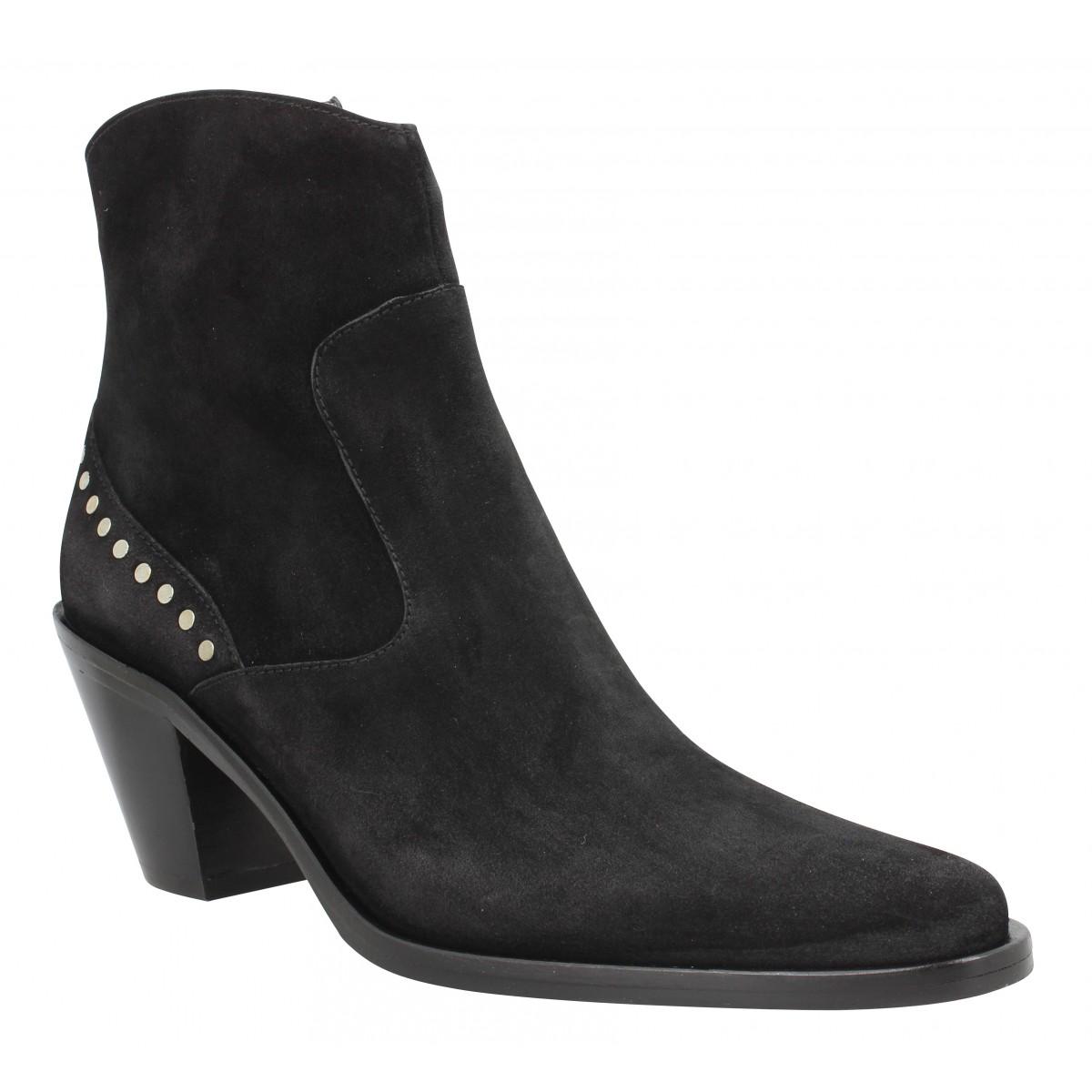 Bottines FREE LANCE Jane 7 Stud Western Zip Boot velours Femme Noir