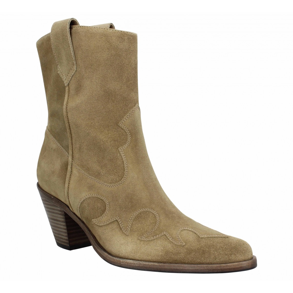 Bottes FREE LANCE Jane 7 West Mid Boot velours Femme Taupe