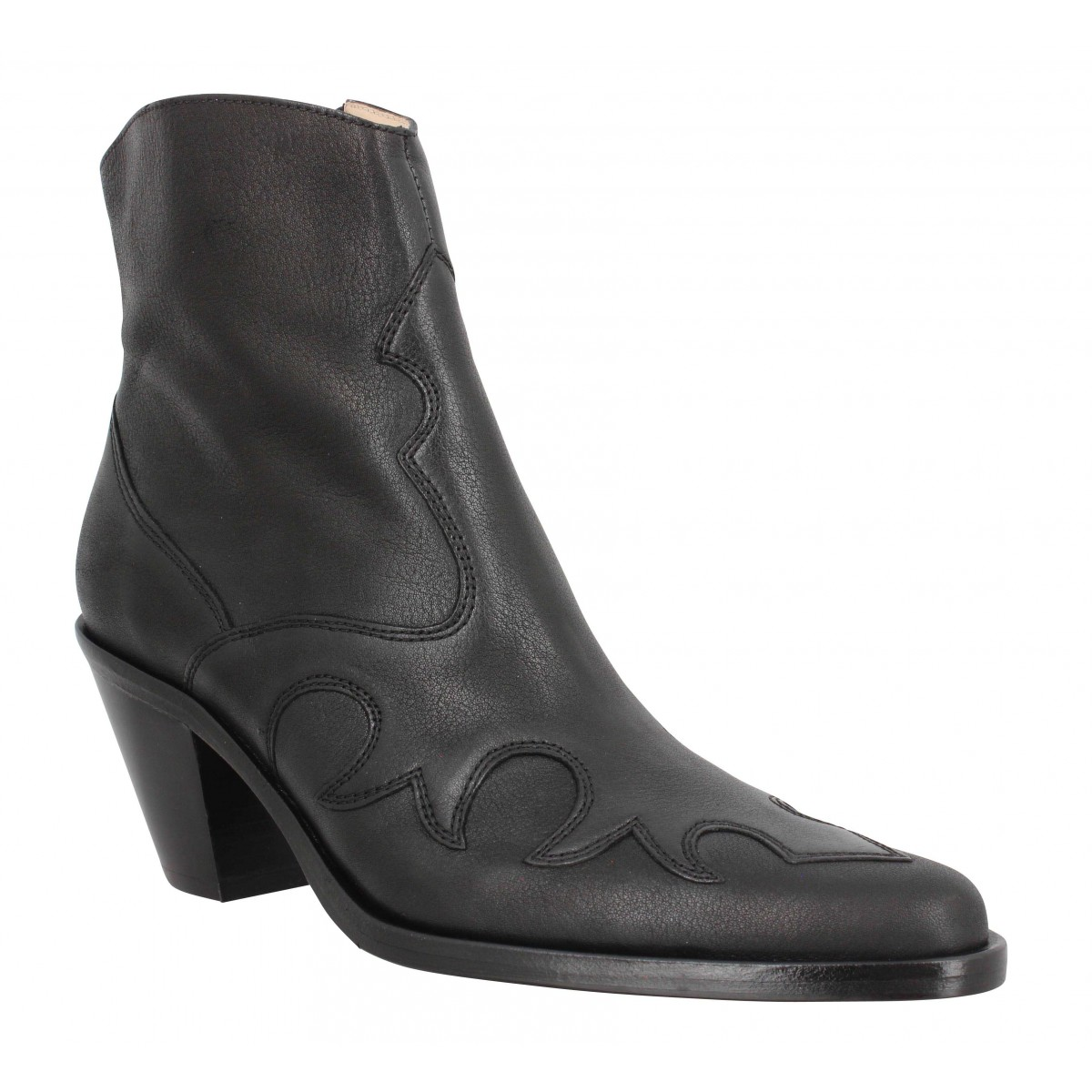 Bottines FREE LANCE Jane 7 West Zip Boot cuir graine Femme Noir