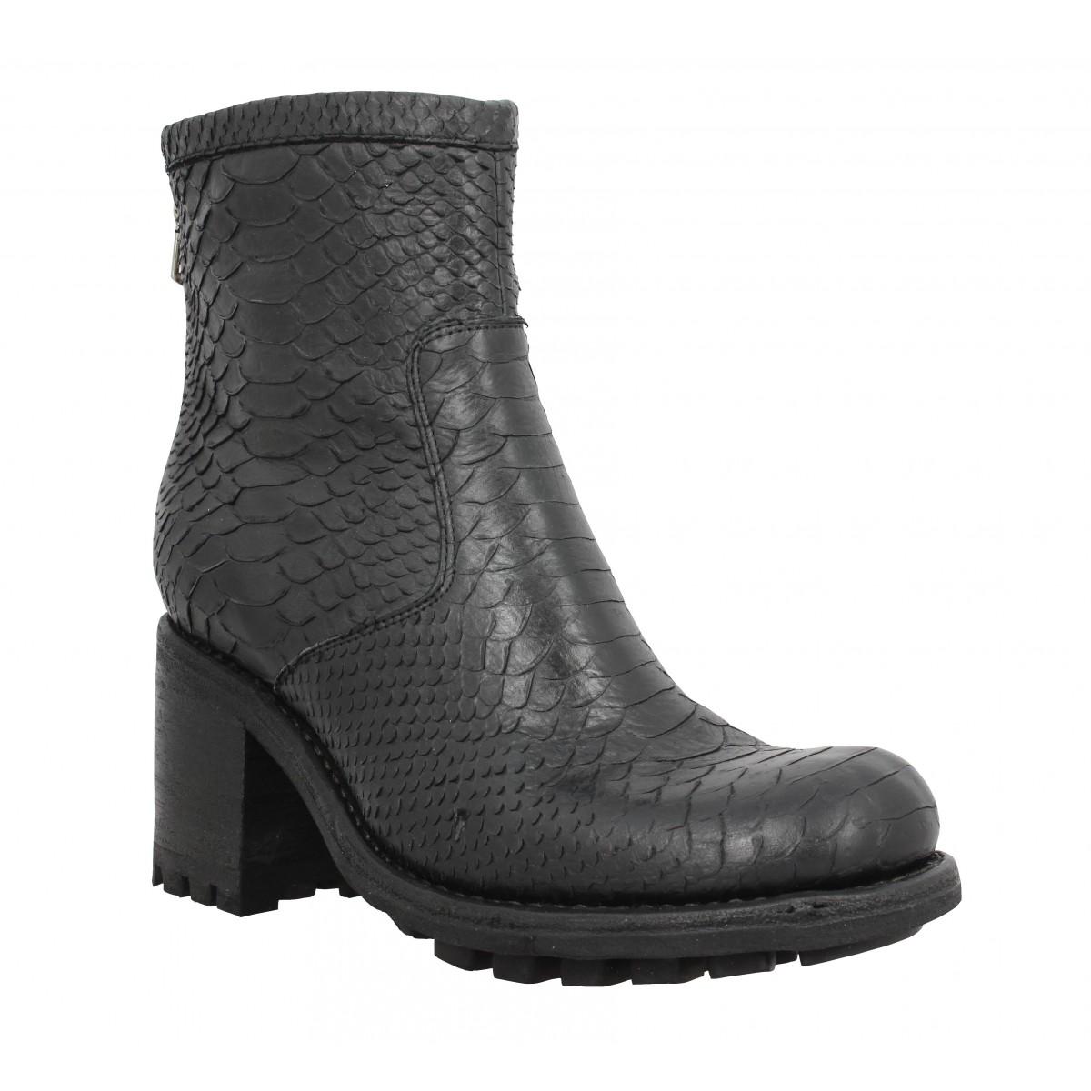 Bottines FREE LANCE Justy 7 Back Zip Boot diamente wash Femme Noir